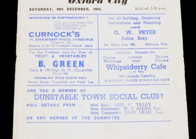 Dunstable Town v Oxford city 18.12.1954
