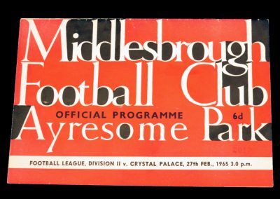 Crystal Palace v Middlesbrough 27.02.1965