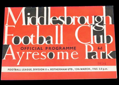 Rotherham United v Middlesbrough 13.03.1965