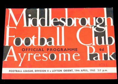 Leyton Orient v Middlesbrough 19.04.1965