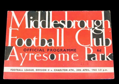 Charlton Athletic v Middlesbrough 24.04.1965