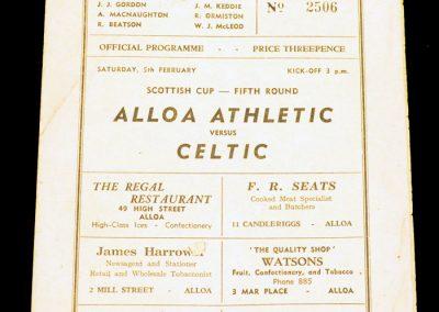 Alloa Athletic v Celtic 05.02.1955