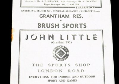Grantham Reserves v Brush Sports 05.03.1955