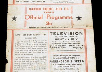 Aldershot FC v Starlight 07.03.1955