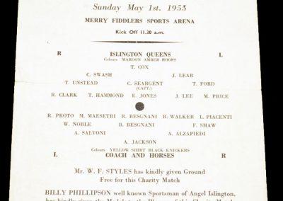 Islington Queens v Coach & horses 01.05.1955