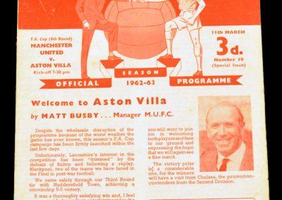 Aston Villa v Manchester United 11.03.1963   FA Cup 4th Round
