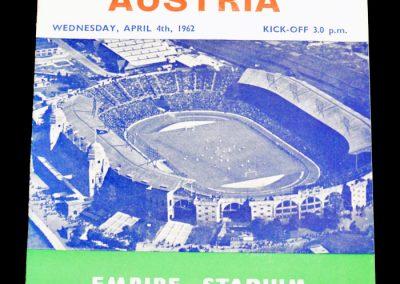 England v Austria 04.04.1962