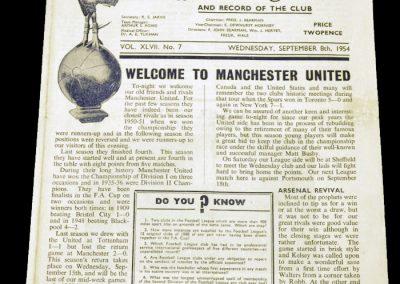 Tottenham Hotspur v Manchester United 08.09.1954