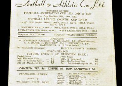 Bolton Wanderers v Manchester United 11.09.1954