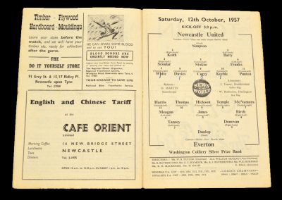 Newcastle United v Everton 12.10.1957