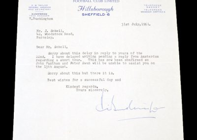 Sheffield Wednesday Letter 31.07.1961
