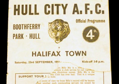 Hull City v Halifax Town 23.09.1961