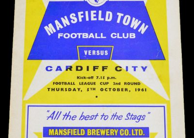 Mansfield Town v Cardiff City 05.10.1961