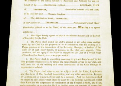 Tommy Taylor Contract 14.05.1955