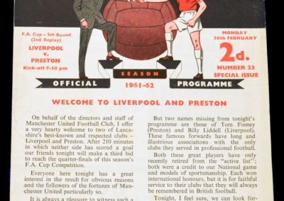 Liverpool v Preston 26.02.1962 | FA Cup 5th Round 2nd Replay at Old Trafford