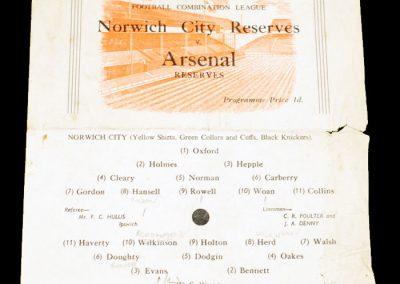 Norwich City Reserves v Arsenal Reserves 27.11.1954