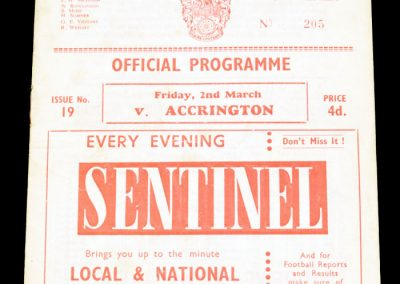 Crewe v Accrington 02.03.1962 | Accringtons last game