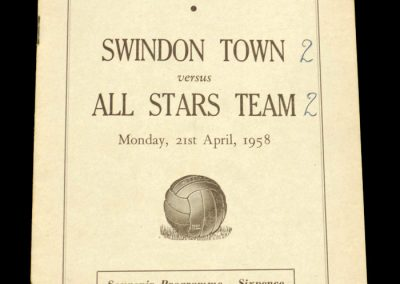 Swindon Town v All Stars Team 21.04.1958