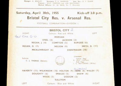 Bristol City FC v Arsenal Reserves 30.04.1955