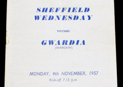 Gwardia (Warsaw) v Sheffield Wednesday 04.11.1957