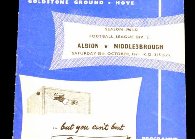 Brighton and Hove Albion v Middlesbrough 28.10.1961