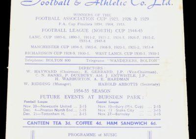 Bolton Wanderers v Arsenal 06.11.1954