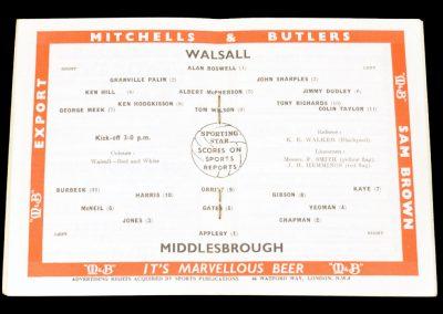 Walsall v Middlesbrough 23.04.1962