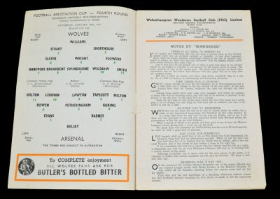 Wolverhampton Wanderers v Arsenal 29.01.1955 | FA Cup 4th Round