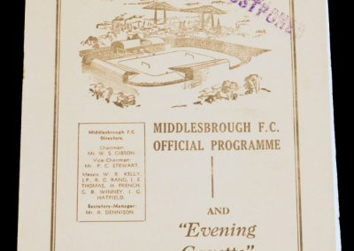 Middlesbrough FC v Leyton Orient 08.02.1958 | Postponed
