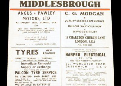 Charlton Athletic v Middlesbrough FC 15.02.1958