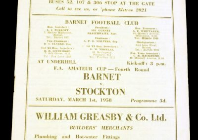Barnet v Stockton 01.03.1958 | FA Amateur Cup 4th round