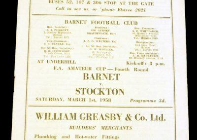 Barnet v Stockton 01.03.1958 | FA Amateur Cup 4th round