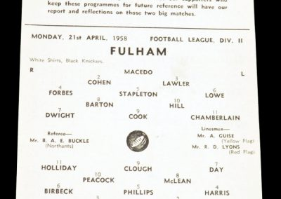 Fulham v Middlesbrough FC 21.04.1958 | Postponed