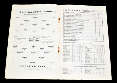 Leicester City v West Bromwich Albion 25.09.1954