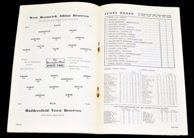 Huddersfield Town Reserves v West Bromwich Albion Reserves 23.10.1954