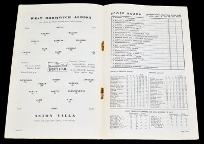 Aston Villa v West Bromwich Albion 30.10.1954