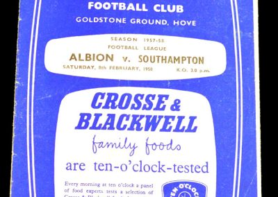 Brighton and Hove Albion v Southampton 08.02.1958