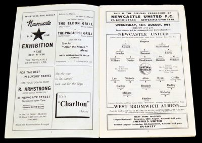 Newcastle United v West Bromwich Albion 25.08.1954