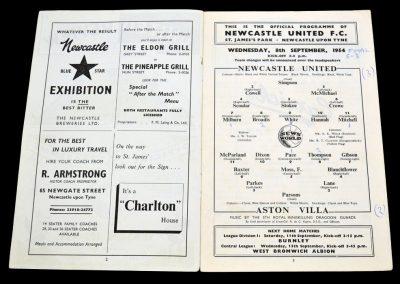 Aston Villa v Newcastle United 08.09.1954
