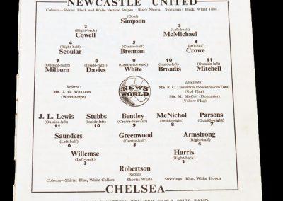 Chelsea v Newcastle United 25.09.1954