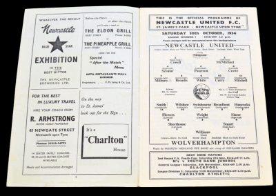 Newcastle United v Wolverhampton Wanderers 30.10.1954