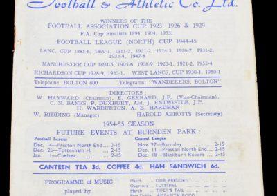 Bolton Wanderers v Newcastle United 20.11.1954