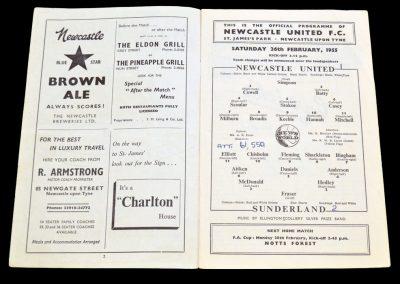 Sunderland v Newcastle United 26.02.1955