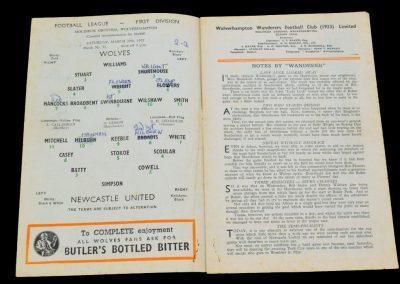 Wolverhampton Wanderers v Newcastle United 19.03.1955
