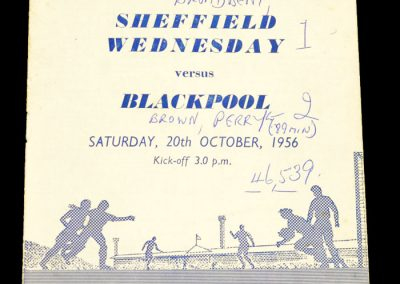 Sheffield Wednesday v Blackpool 20.10.1956