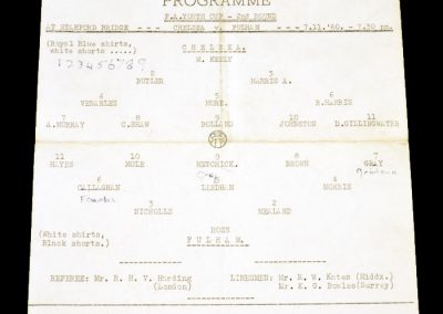 Chelsea v Fulham 07.11.1960 | FA Youth Cup 2nd Round