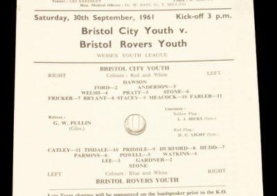 Bristol City v Bristol Rovers 30.09.1961 | Youth