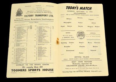 Crystal Palace v Southampton 01.09.1956