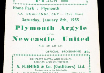 Plymouth Argyle v Newcastle United 08.01.1955 | FA Cup 3rd Round