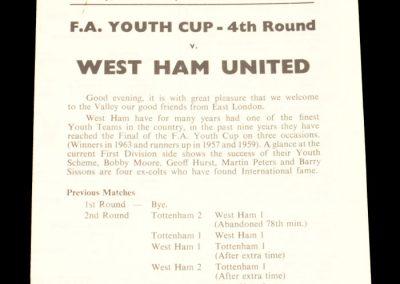 Charlton Athletic v West Ham United 01.02.1966 | FA Amateur Youth Cup 4th Round